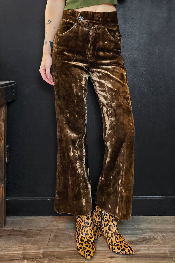 Vintage 60s/70s High Waist Brown Crushed Velvet Pants