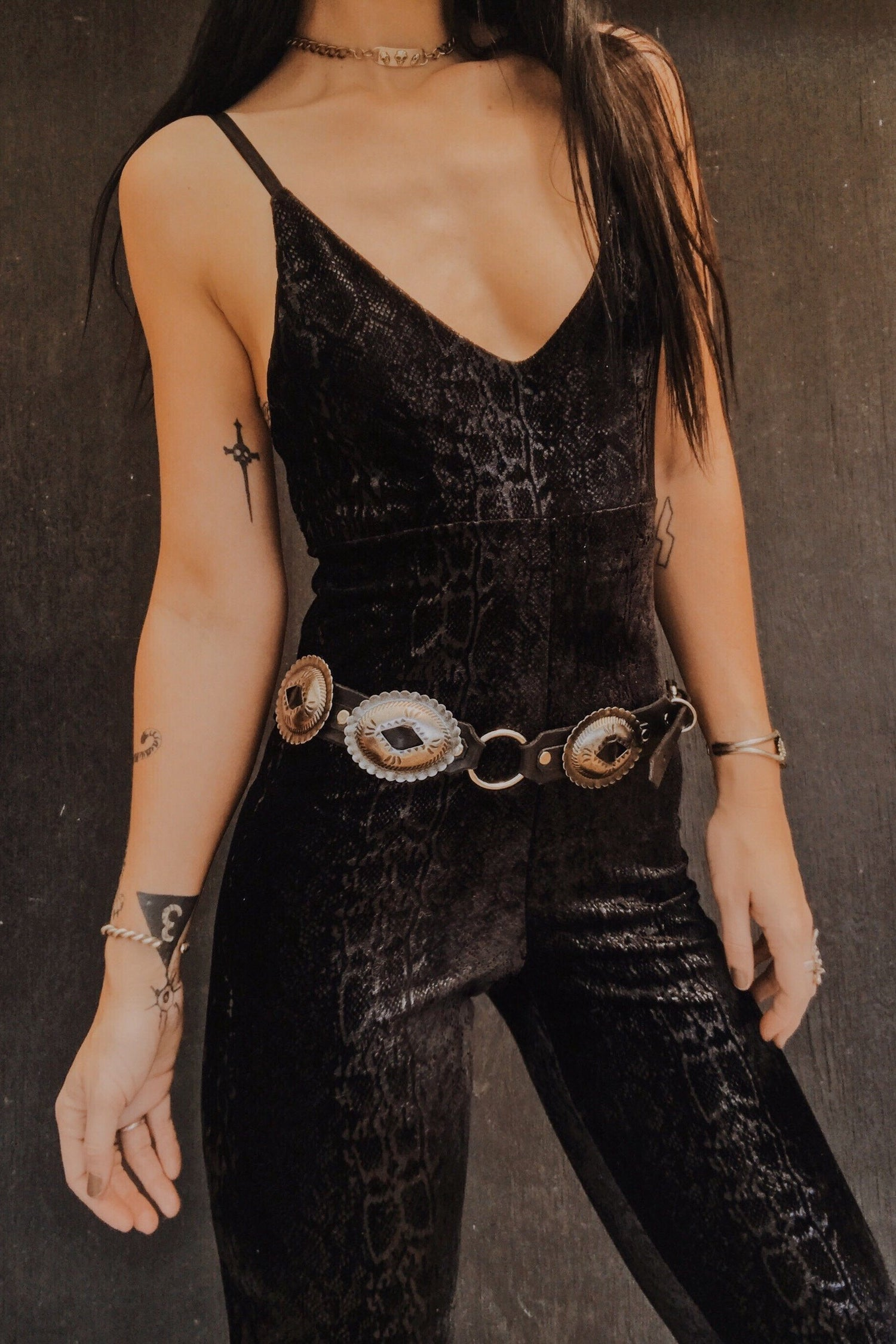 Black Leather Slotted Concho Belt by Hell Bent Leather・Various Sizes Available, Accessories, Hell Bent Leather, BACKBITE