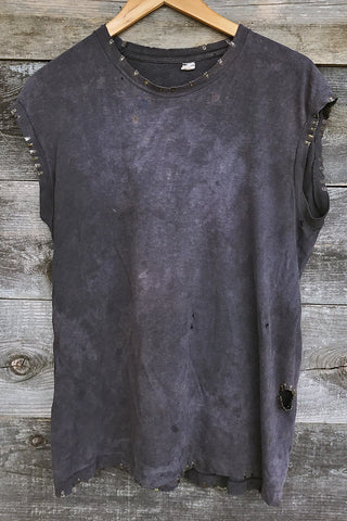 Amazing Thin 'N Tattered Muscle Tee With Metal Details