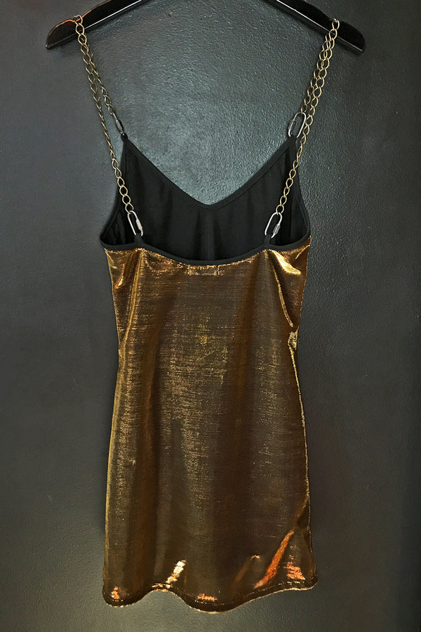 The Heavy Metal Chain Dress in Gold Metallic Mesh・Size S Sample