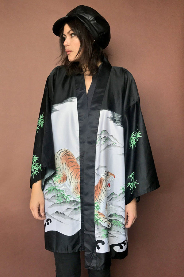 Black and White Japanese Tiger Robe