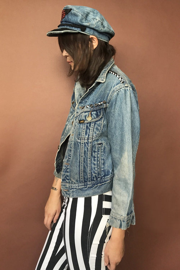 Worn and Faded Studded Denim Jacket