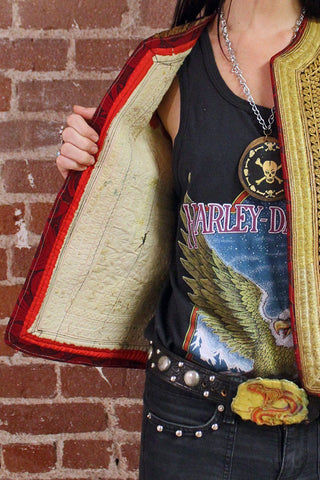 Antique Metallic Gold Intricate Woven Vest