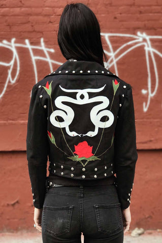 Rusty Cuts Handcrafted Snakes and Roses Riveted Black Denim Jacket