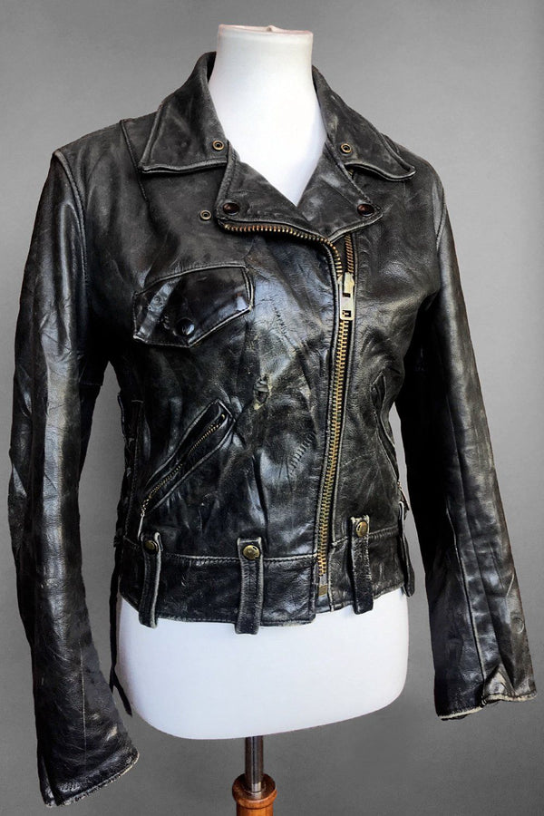 1970s Berman's Beautifully Broken-In Vintage Charcoal Leather Jacket, Outerwear, BACKBITE, BACKBITE