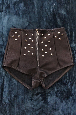 Studded Black Mamba Perfect Black Leather Zip Front Handmade Hot Shorts
