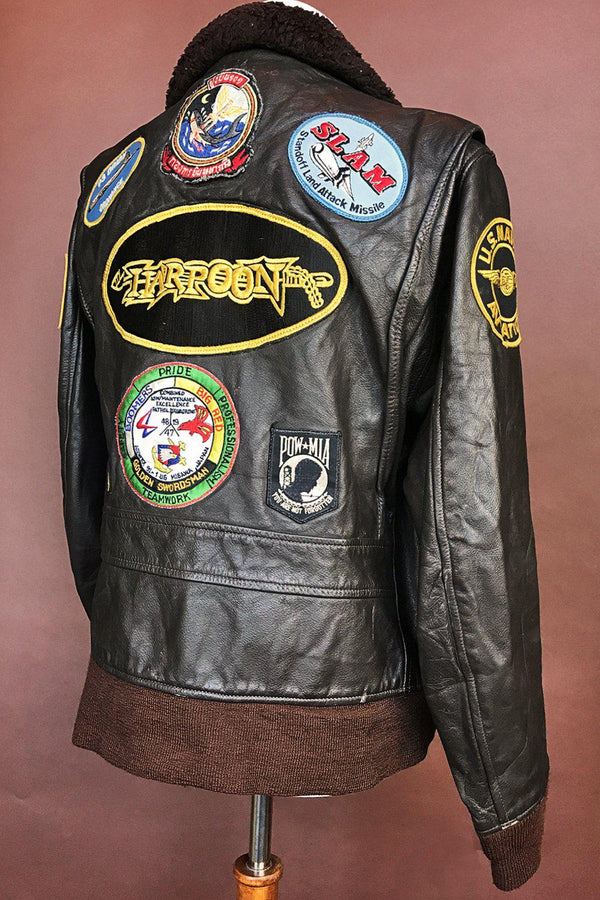 Vintage Patched Military Leather Bomber Jacket