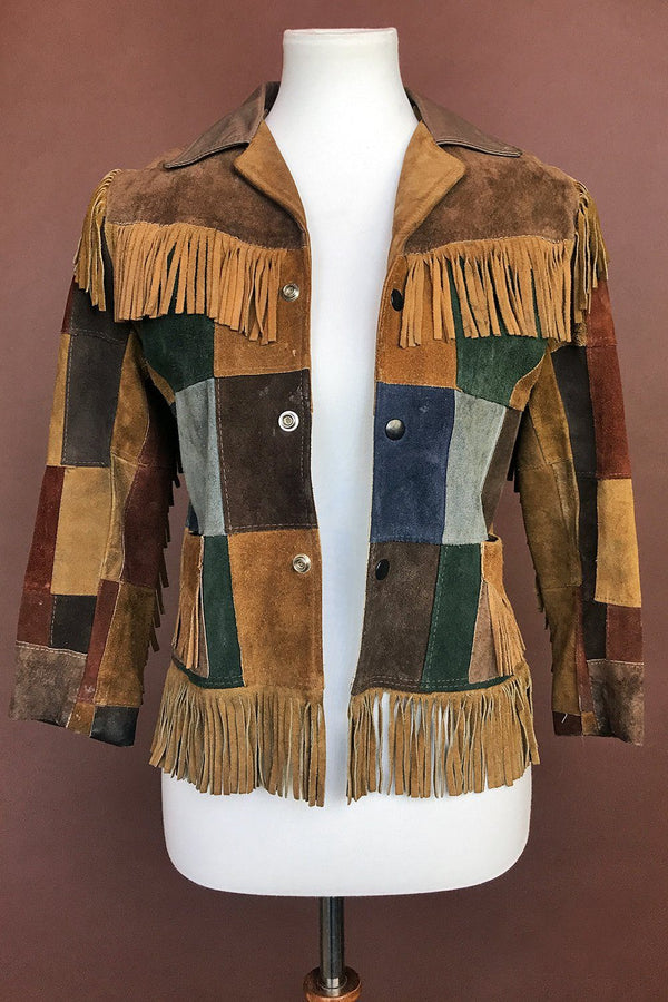 1970s Petite Suede Patchwork Fringe Jacket, Outerwear, BACKBITE, BACKBITE