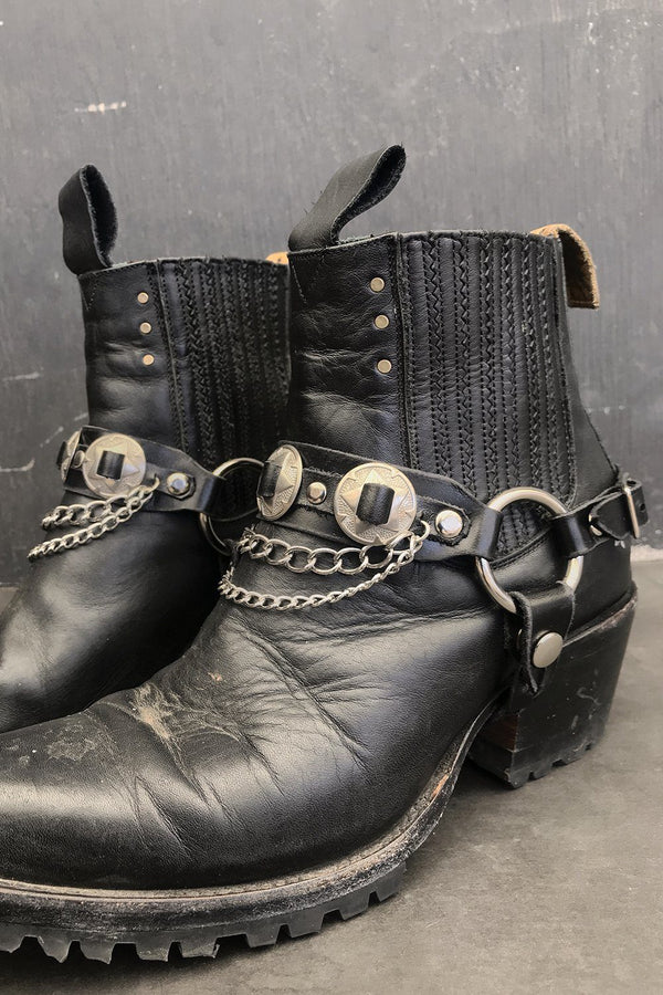 Black Leather Concho & Chain Boot Straps by Hell Bent Leather, Accessories, Hell Bent Leather
