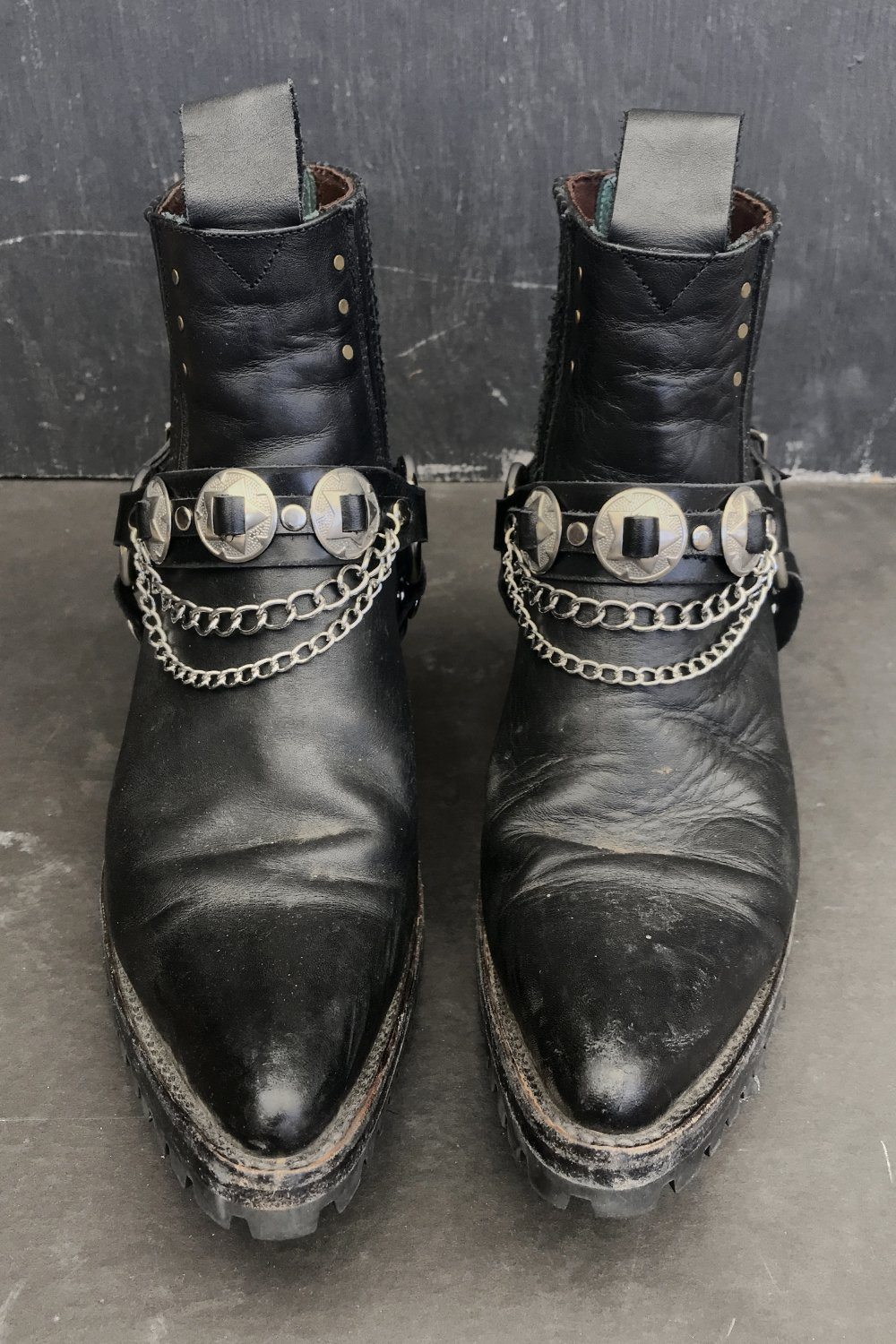 Black Leather Concho & Chain Boot Straps by Hell Bent Leather, Accessories, Hell Bent Leather, BACKBITE