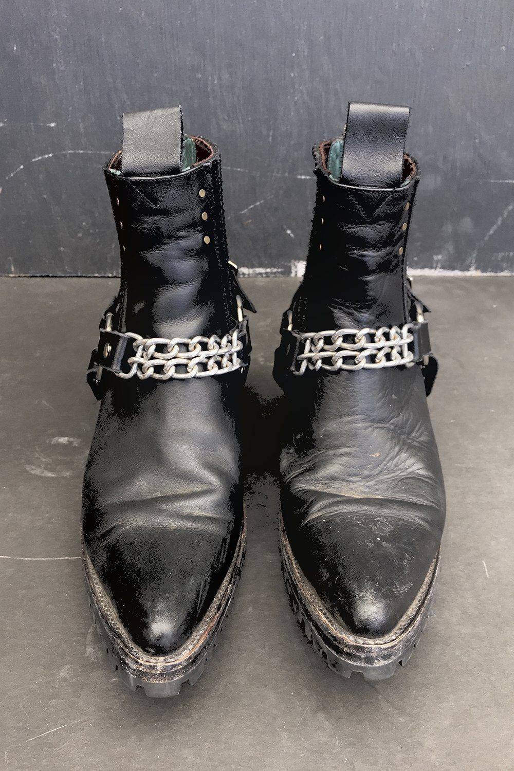 Black Leather Chain Boot Straps by Hell Bent Leather, Accessories, Hell Bent Leather, BACKBITE