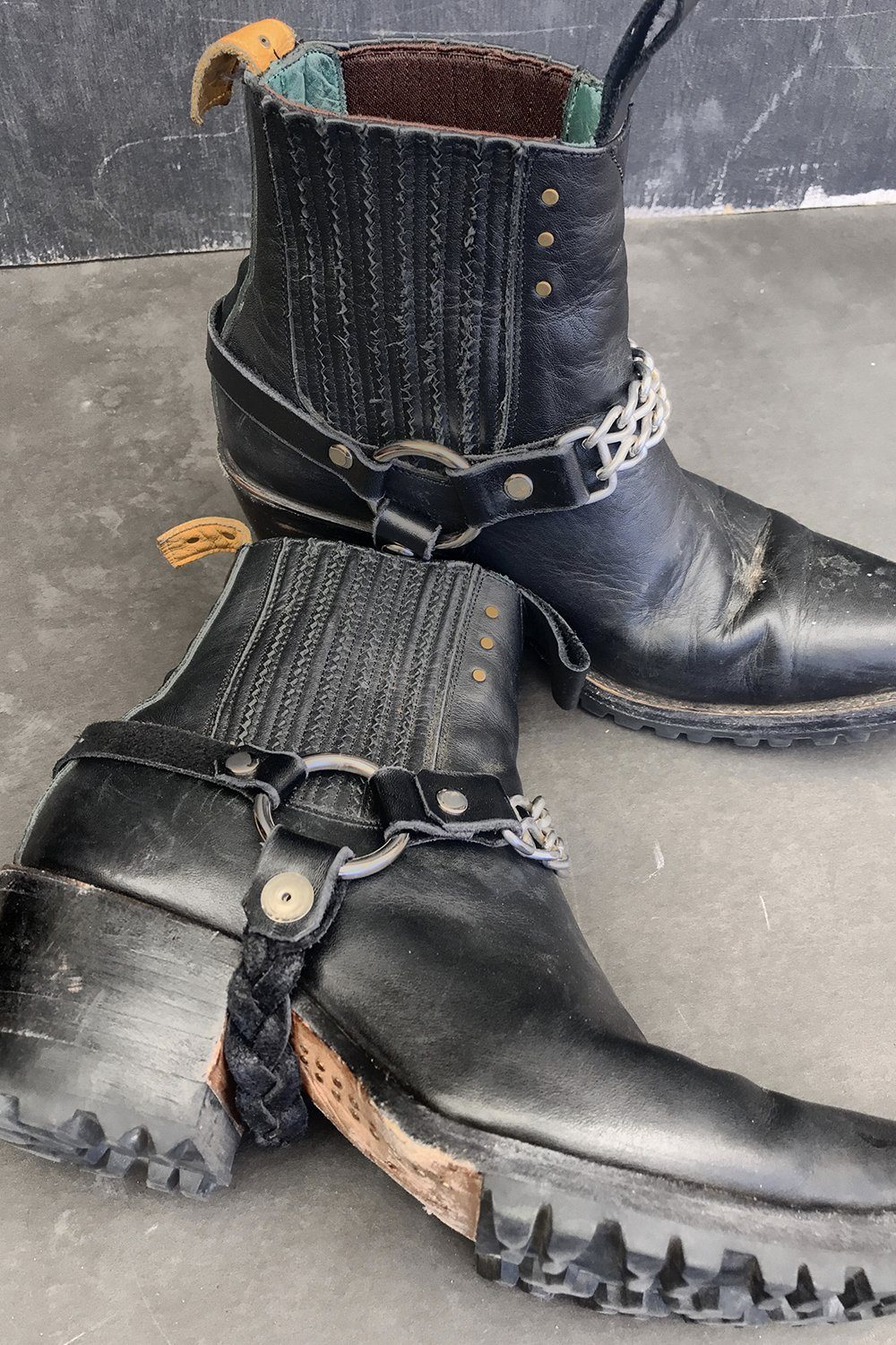 Black Leather Chain Boot Straps by Hell Bent Leather, Accessories, Hell Bent Leather