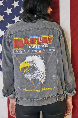 Faded 'N Thin Distressed Grey Harley Davidson Denim Jacket