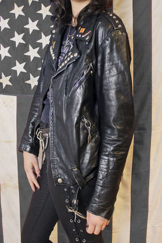 Brit's Favorite Perfect Black Leather Studded and Pinned Jacket
