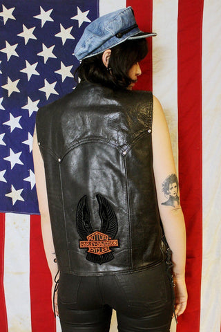 Straight to Hell Black Leather Concho Harley Vest