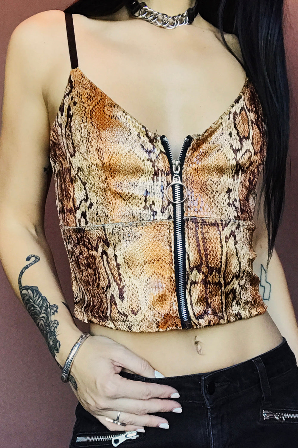 The Renegade Zipper Top in Golden Cobra