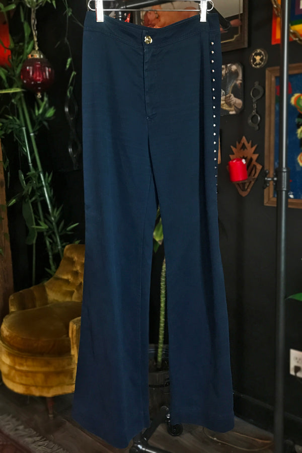 1970s Studded Roncelli Wide Leg Pants, bottoms, BACKBITE, BACKBITE