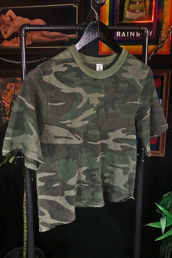 Vintage Cropped Mesh Camo Tee