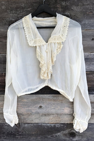 Cream Dream Antique Sheer and Delicate Lace Trimmed Top