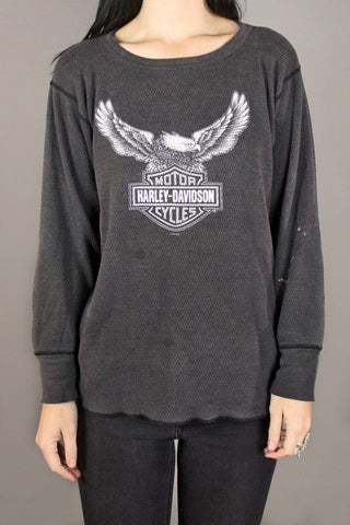 Soft 'N Faded Harley Waffle Knit Eagle 50/50 Thermal