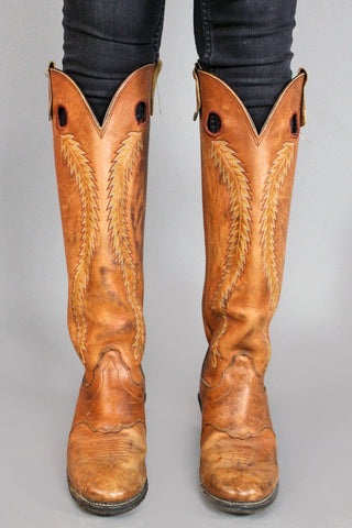 Ramble On Knee High Embroidered Caramel Brown Cowboy Boots