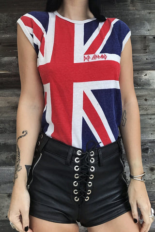 Authentic 1980s Def Leppard Union Jack Paper Thin 50/50 Tank Top