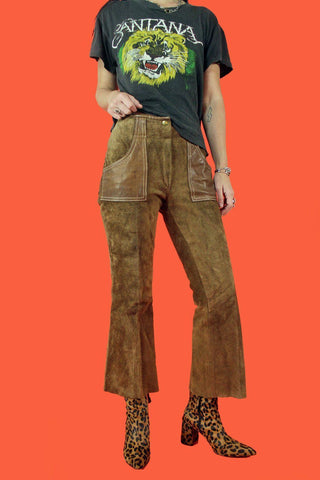 Spanish Rose Perfect Brown Suede Flood Pants