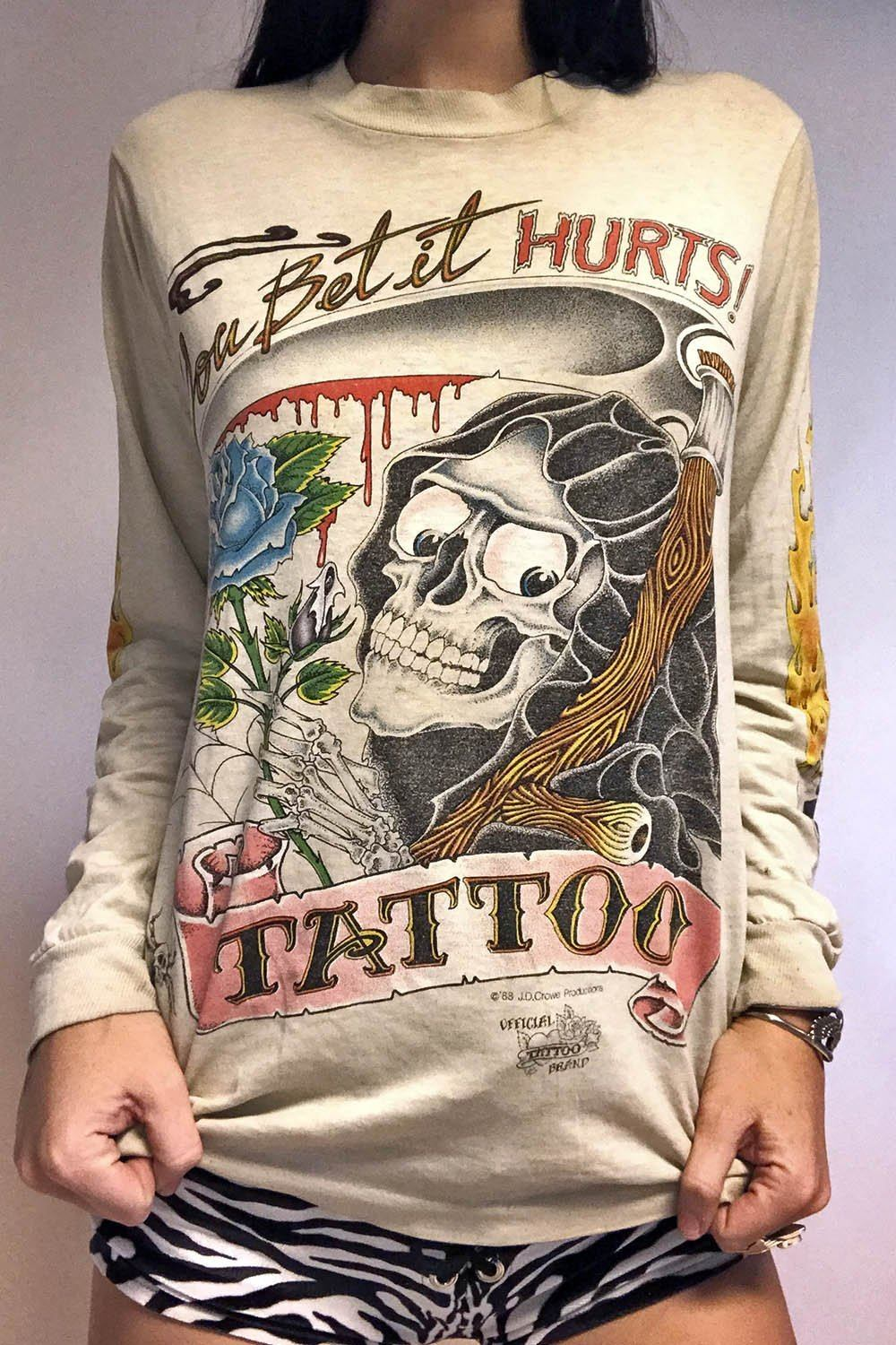 "1988 ""You Bet It Hurt"" Skull, Rose, Spiderweb, 'N Flames Tattered Tee"
