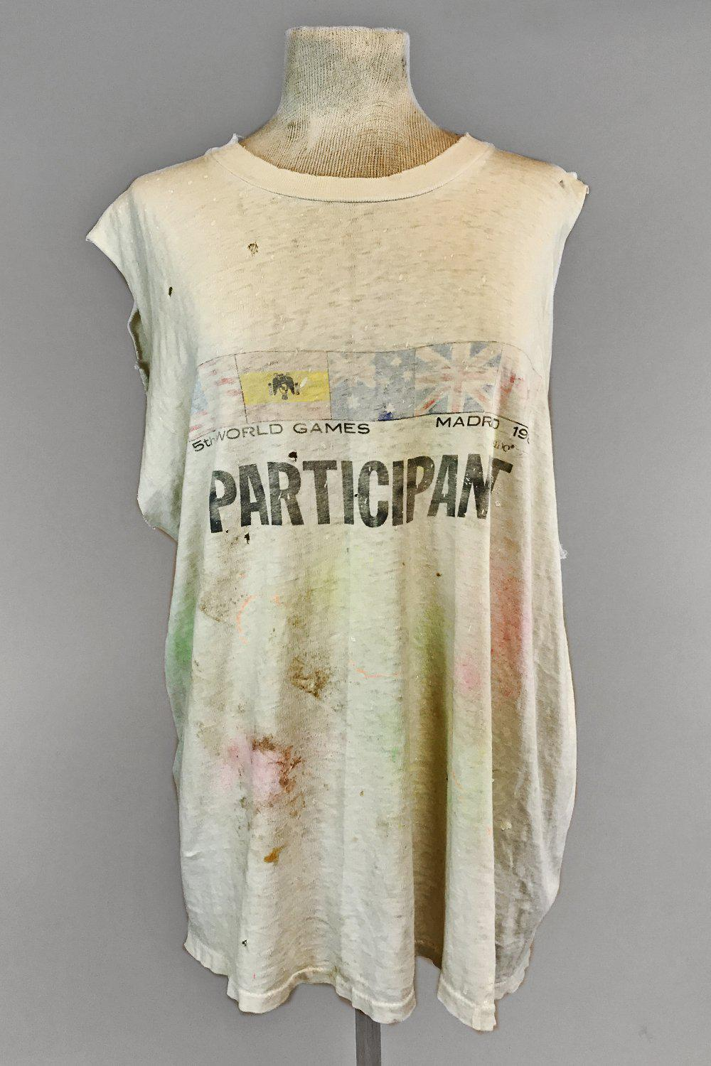 1986 Tissue Thin World Games Participant Destroyed White Tee, Tops, BACKBITE, BACKBITE