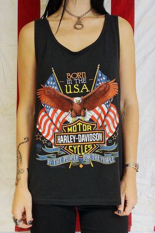 "1989 Tissue Thin ""Born in the USA"" 50/50 Harley Tank Top"