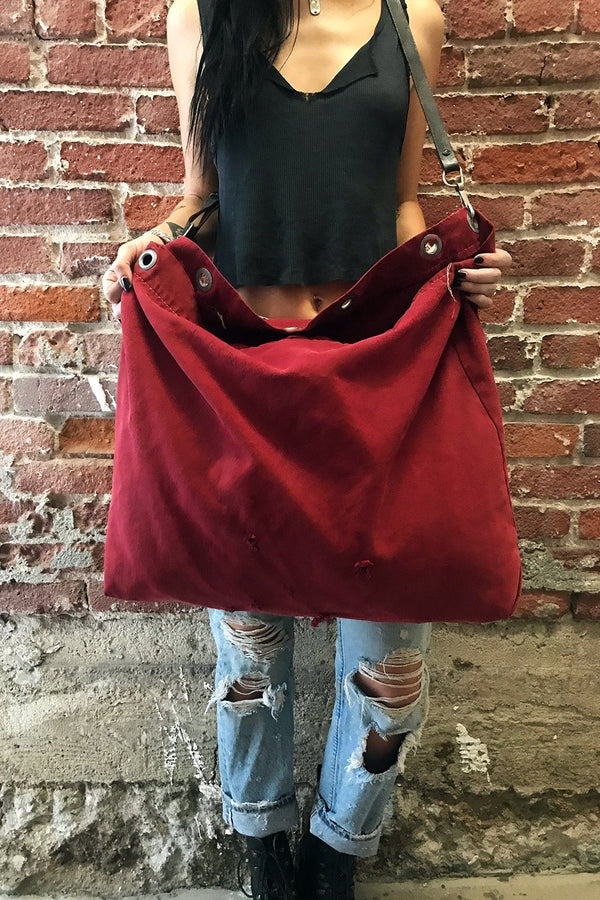 Recycled 1960s/70s Dyed Postal Service Bag w/ Vtg. Military Belt Strap (Red)