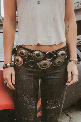 Black Leather Slotted Concho Belt by Hell Bent Leather (Various Sizes Available)