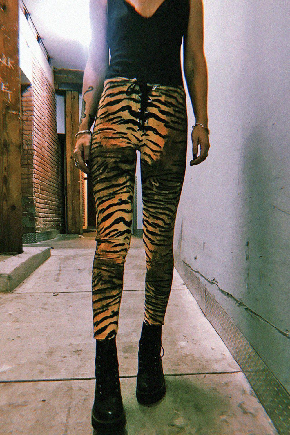 *In Stock Now!* Tiger Velvet Grommet Pants Size XS, bottoms, BAD VIBES, BACKBITE