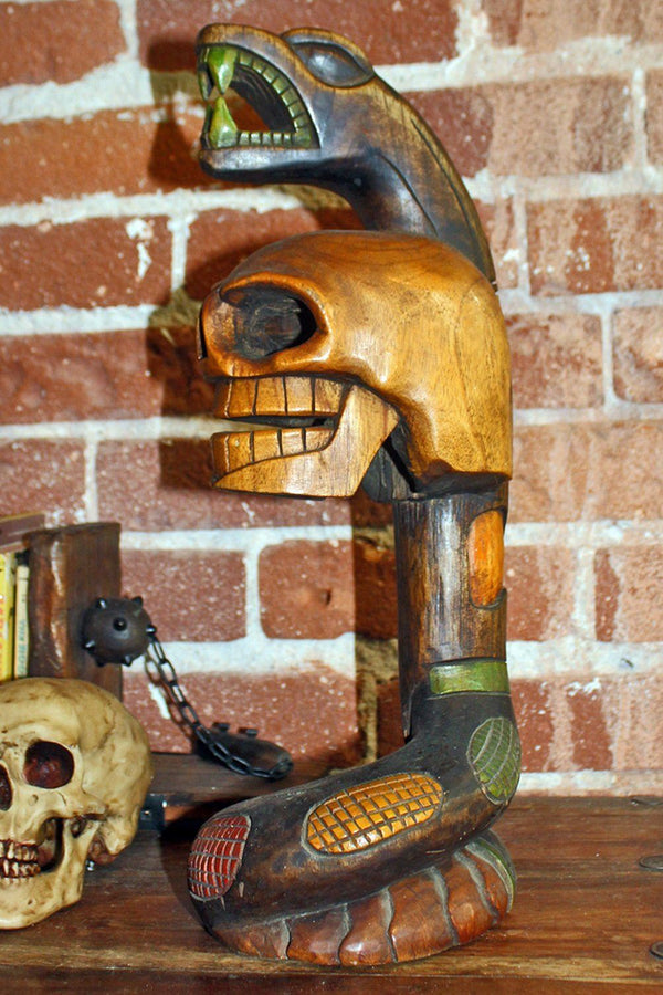 Handcrafted Mexican Carved Wooden Snake and Skull