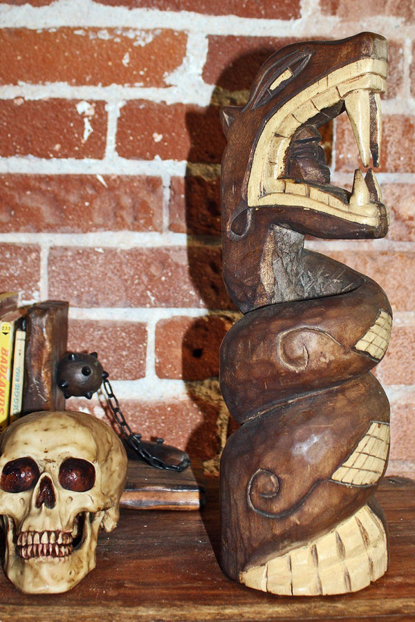 Handcrafted Mexican Carved Wooden Snake