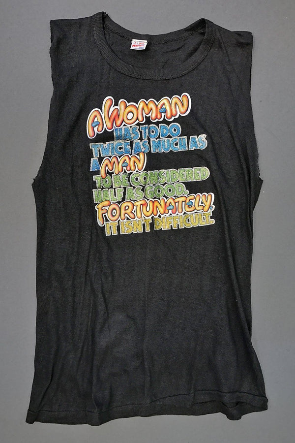 1970s Women Do Twice As Much Tissue Thin Sleeveless Tee