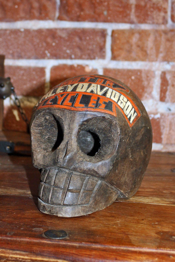Handcrafted Mexican Carved Wooden Harley Davidson Skull