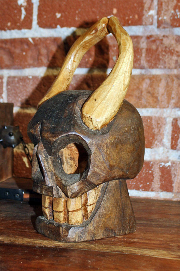 Handcrafted Mexican Carved Wooden Horned Diablo