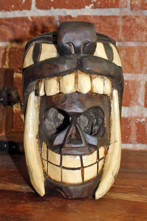 Handcrafted Mexican Carved Wooden Skull in Jaguar