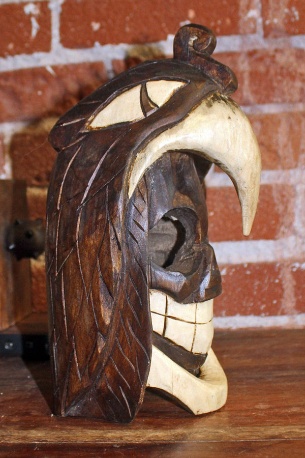 Handcrafted Mexican Carved Wooden Skull in Eagle