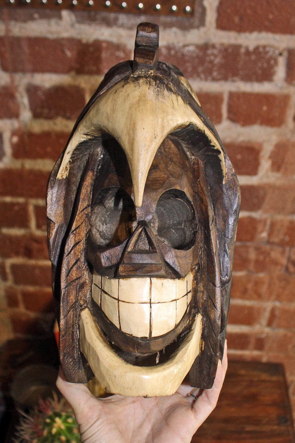 Handcrafted Mexican Carved Wooden Skull in Eagle, Home Adornment, BACKBITE