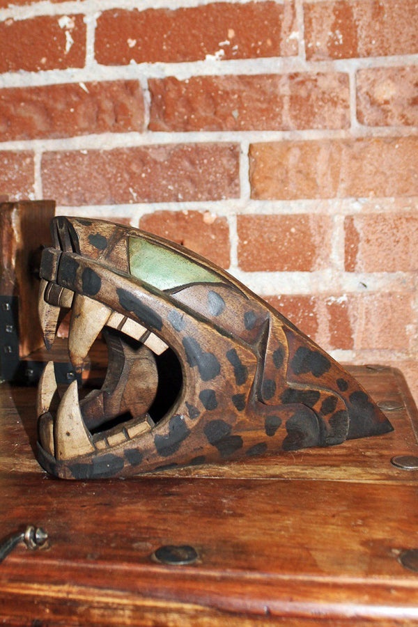 Handcrafted Mexican Carved Wooden Green Eyed Jaguar
