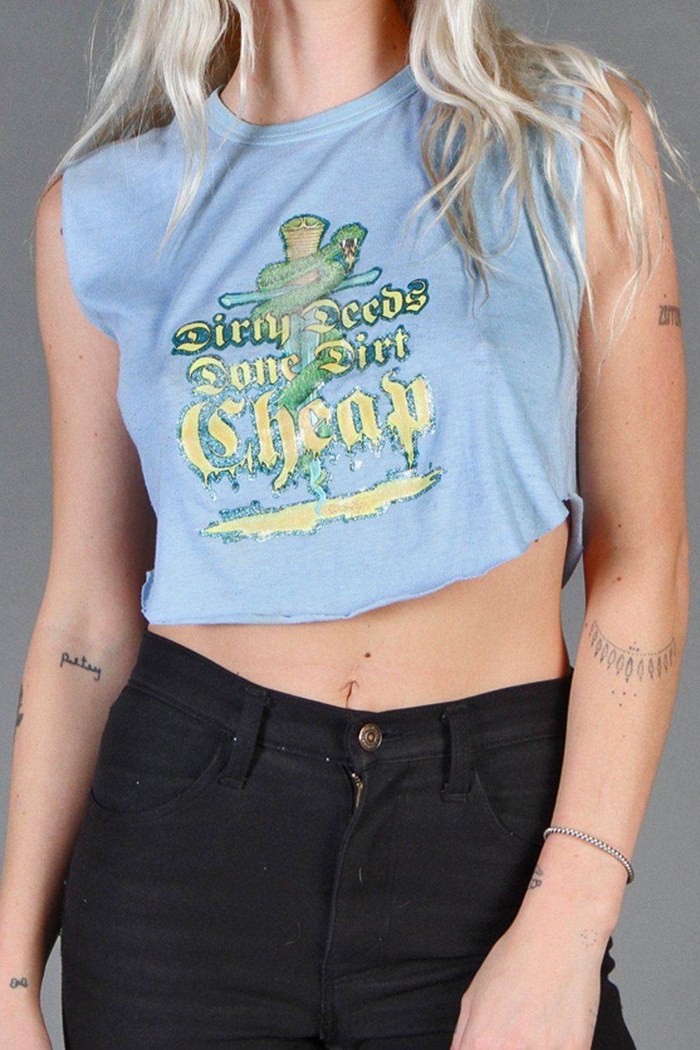 Dirty Deeds Done Dirt Cheap Cropped 50/50 Tee