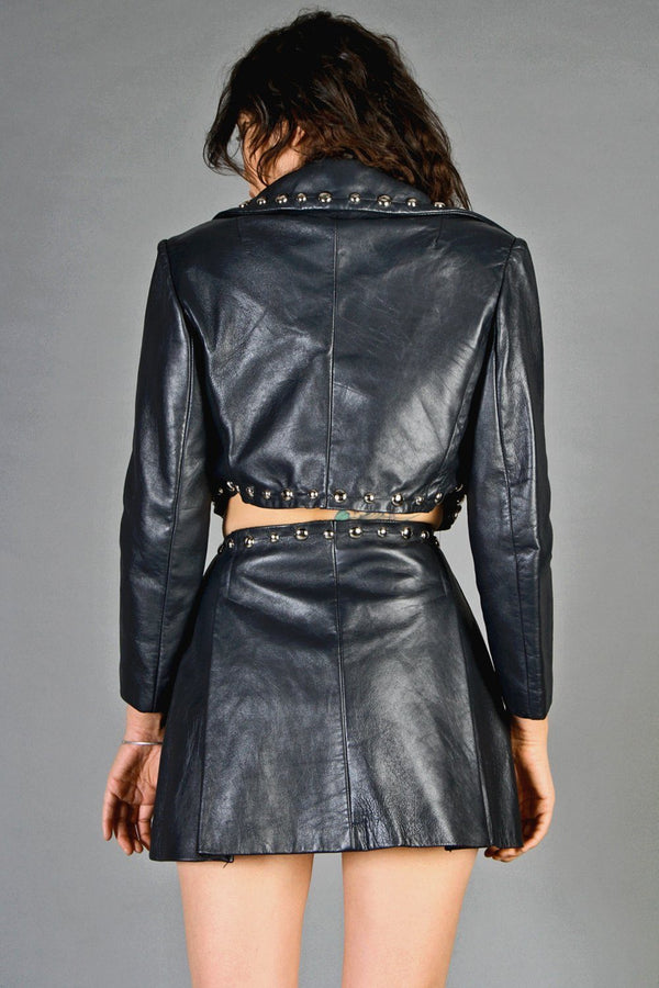 Calling Mr. Midnight: Reconstructed Glam Leather 2 Piece Set