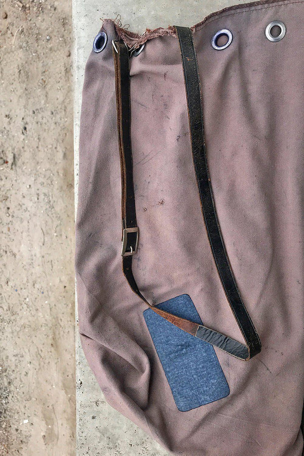 Recycled 1960s/70s Dyed Postal Service Bag w/ Vtg. Military Belt Strap (Taupe)