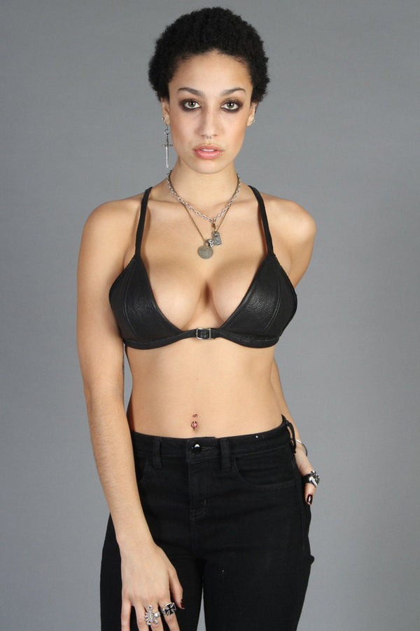 Badass Leather O-Ring Bra Top Custom Made by Hell Bent Leather