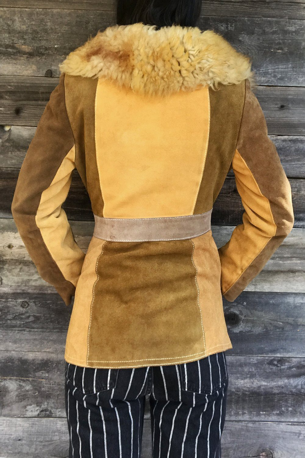1970s Norwegian Wood Shearling Patchwork Suede Penny Lane Coat