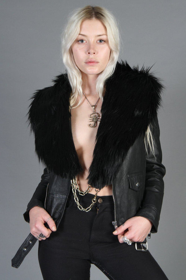 Black Faux Fur Chained-Up Stole by Hell Bent Leather