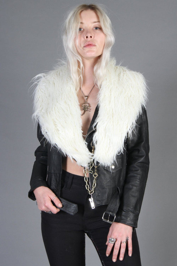 White Faux Fur Chained-Up Stole by Hell Bent Leather
