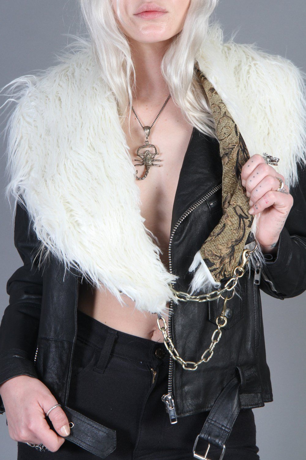 White Faux Fur Chained-Up Stole by Hell Bent Leather (SOLD OUT)